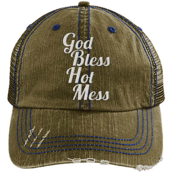 God Bless Hot Mess Trucker Cap Apparel CustomCat 6990 Distressed Unstructured Trucker Cap Brown/Navy One Size