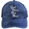 God Bless Hot Mess Trucker Cap Apparel CustomCat 6990 Distressed Unstructured Trucker Cap Navy/Navy One Size