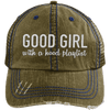 GOOD GIRL with a hood playlist Hats CustomCat Brown/Navy One Size