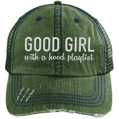 GOOD GIRL with a hood playlist Hats CustomCat Dark Green/Navy One Size