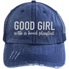 GOOD GIRL with a hood playlist Hats CustomCat Navy/Navy One Size