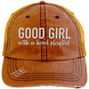 GOOD GIRL with a hood playlist Hats CustomCat Orange/Navy One Size