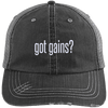 got gains? Distressed Trucker Cap Apparel CustomCat 6990 Distressed Unstructured Trucker Cap Black/Grey One Size