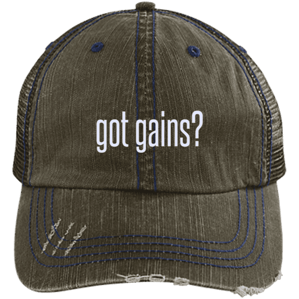 got gains? Distressed Trucker Cap Apparel CustomCat 6990 Distressed Unstructured Trucker Cap Brown/Navy One Size