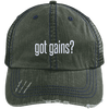 got gains? Distressed Trucker Cap Apparel CustomCat 6990 Distressed Unstructured Trucker Cap Dark Green/Navy One Size