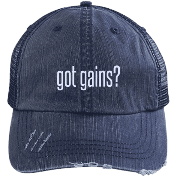 got gains? Distressed Trucker Cap Apparel CustomCat 6990 Distressed Unstructured Trucker Cap Navy/Navy One Size