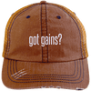 got gains? Distressed Trucker Cap Apparel CustomCat 6990 Distressed Unstructured Trucker Cap Orange/Navy One Size