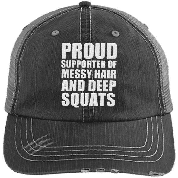 Got My Messy Hair & Deep Squats Hats CustomCat Black/Grey One Size