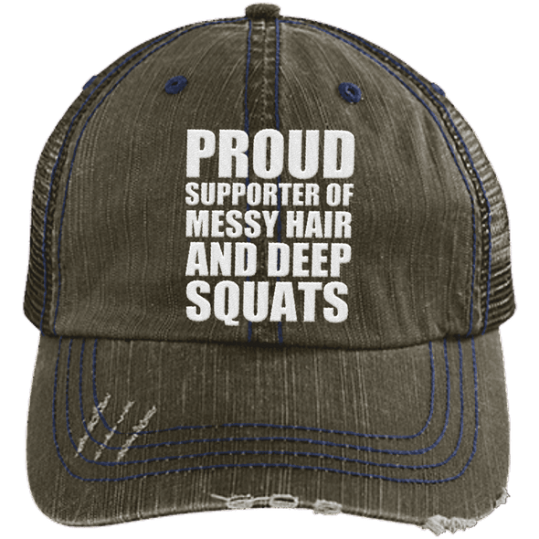 Got My Messy Hair & Deep Squats Hats CustomCat Brown/Navy One Size