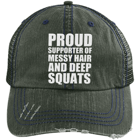 Got My Messy Hair & Deep Squats Hats CustomCat Dark Green/Navy One Size