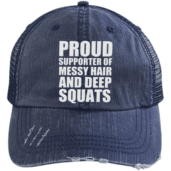 Got My Messy Hair & Deep Squats Hats CustomCat Navy/Navy One Size