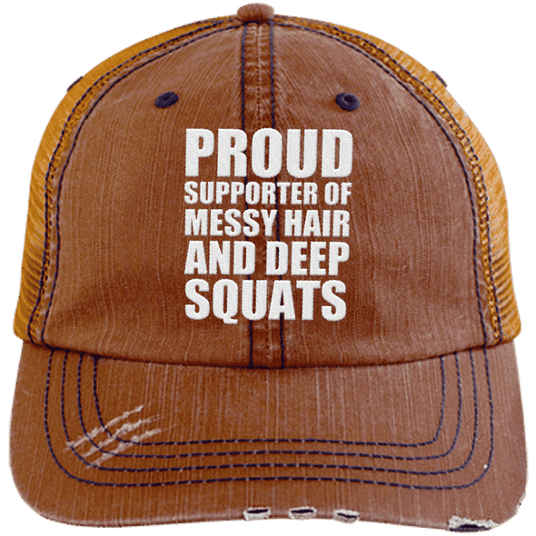 Got My Messy Hair & Deep Squats Hats CustomCat Orange/Navy One Size