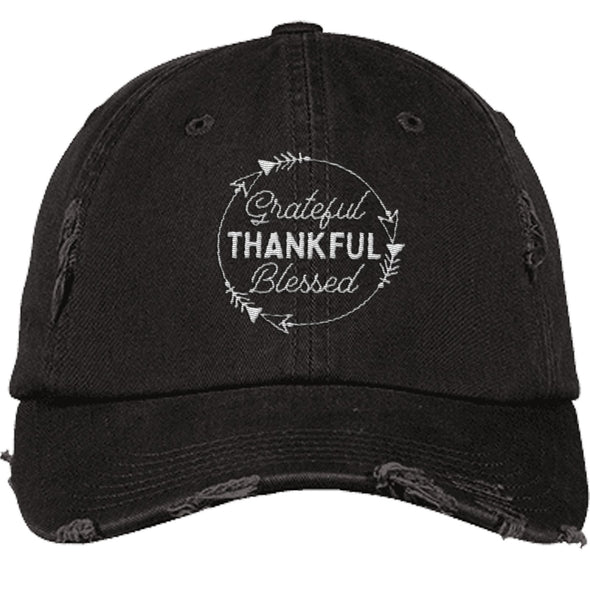 Grateful Thankful Blessed Cap Hats CustomCat Distressed Dad Cap Black One Size