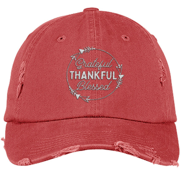 Grateful Thankful Blessed Cap Hats CustomCat Distressed Dad Cap Dashing Red One Size