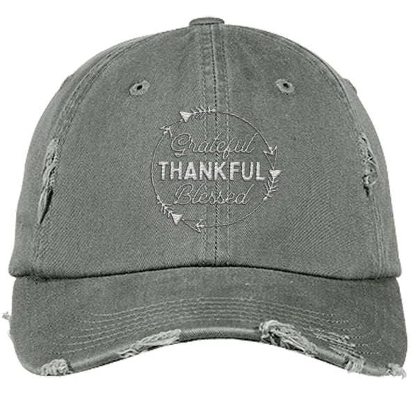 Grateful Thankful Blessed Cap Hats CustomCat Distressed Dad Cap Light Olive One Size