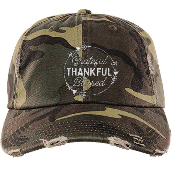 Grateful Thankful Blessed Cap Hats CustomCat Distressed Dad Cap Military Camo One Size