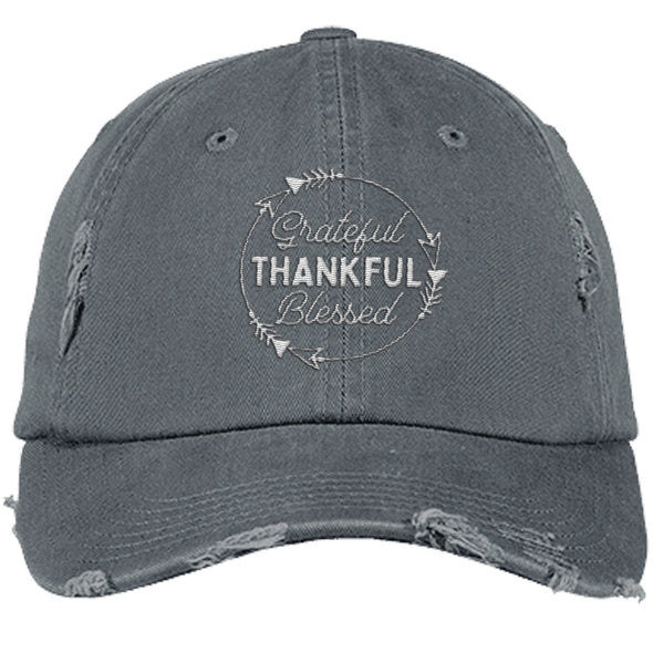 Grateful Thankful Blessed Cap Hats CustomCat Distressed Dad Cap Nickel One Size