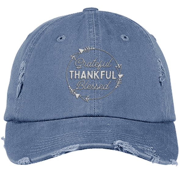 Grateful Thankful Blessed Cap Hats CustomCat Distressed Dad Cap Scotland Blue One Size