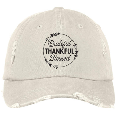 Grateful Thankful Blessed Cap Hats CustomCat Distressed Dad Cap Stone One Size