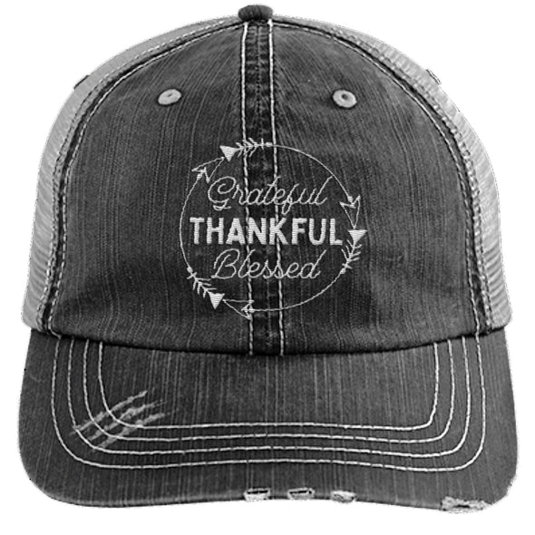 Grateful Thankful Blessed Cap Hats CustomCat Trucker Cap Black/Grey One Size