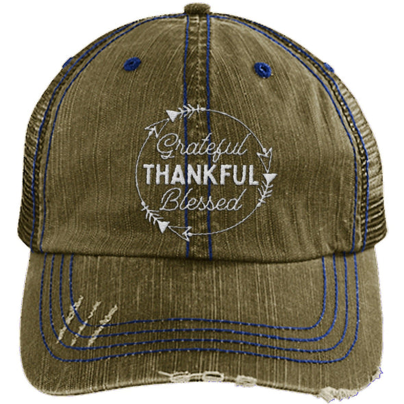 Grateful Thankful Blessed Cap Hats CustomCat Trucker Cap Brown/Navy One Size