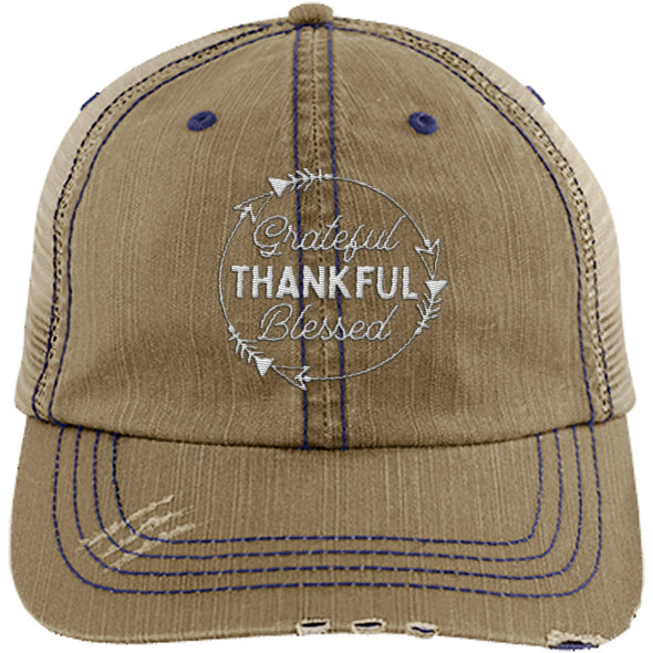 Grateful Thankful Blessed Cap Hats CustomCat Trucker Cap Khaki/Navy One Size