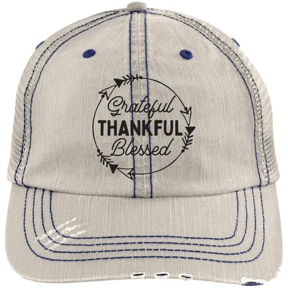 Grateful Thankful Blessed Cap Hats CustomCat Trucker Cap Putty/Navy One Size