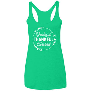 Greatful Thankful Blessed Triblend Racerback Tank T-Shirts CustomCat Envy X-Small