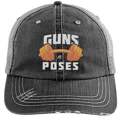 Guns n Poses Cap Hats CustomCat 6990 Distressed Unstructured Trucker Cap Black/Grey One Size