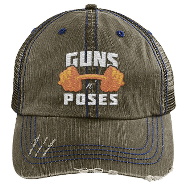 Guns n Poses Cap Hats CustomCat 6990 Distressed Unstructured Trucker Cap Brown/Navy One Size