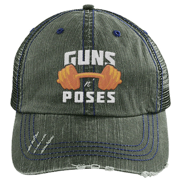 Guns n Poses Cap Hats CustomCat 6990 Distressed Unstructured Trucker Cap Dark Green/Navy One Size