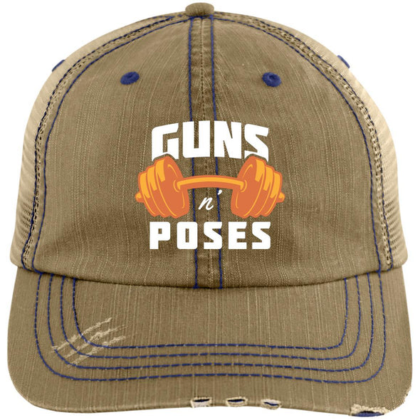 Guns n Poses Cap Hats CustomCat 6990 Distressed Unstructured Trucker Cap Khaki/Navy One Size