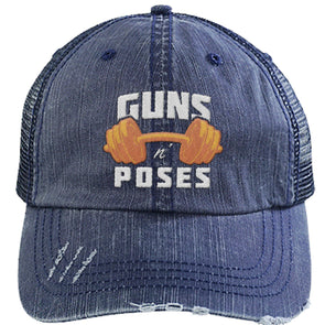Guns n Poses Cap Hats CustomCat 6990 Distressed Unstructured Trucker Cap Navy/Navy One Size