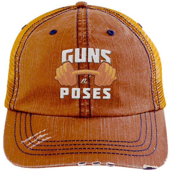 Guns n Poses Cap Hats CustomCat 6990 Distressed Unstructured Trucker Cap Orange/Navy One Size