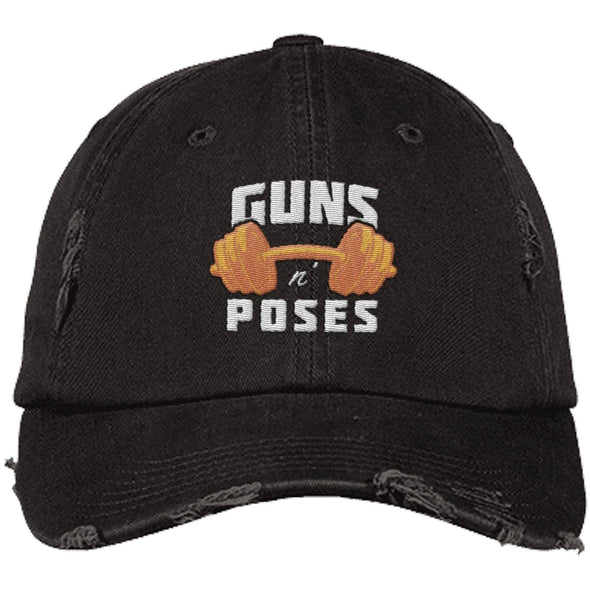 Guns n Poses Cap Hats CustomCat DT600 District Distressed Dad Cap Black One Size