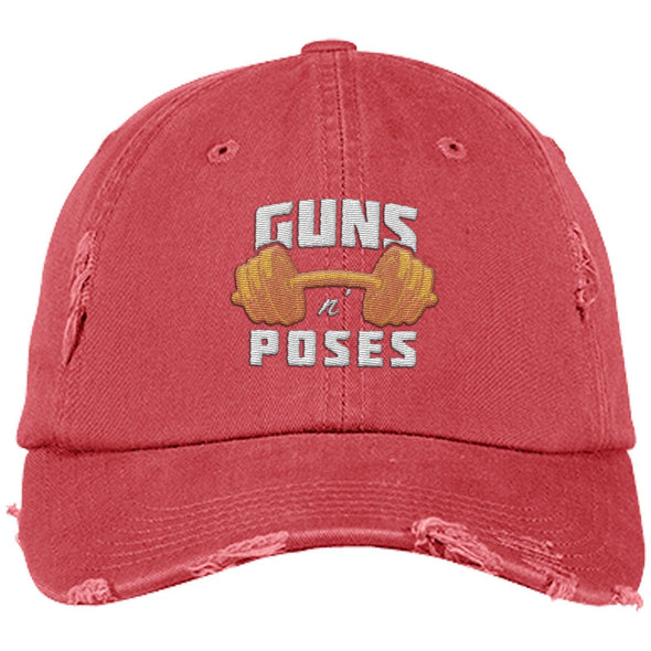 Guns n Poses Cap Hats CustomCat DT600 District Distressed Dad Cap Dashing Red One Size