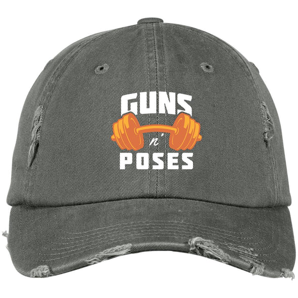 Guns n Poses Cap Hats CustomCat DT600 District Distressed Dad Cap Light Olive One Size