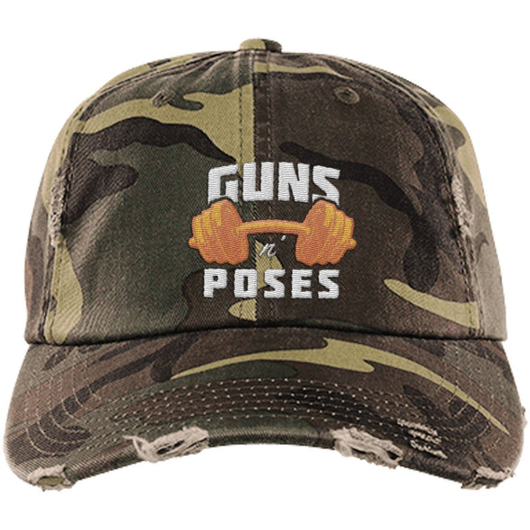 Guns n Poses Cap Hats CustomCat DT600 District Distressed Dad Cap Military Camo One Size