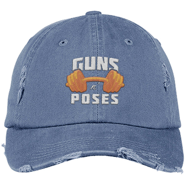Guns n Poses Cap Hats CustomCat DT600 District Distressed Dad Cap Scotland Blue One Size