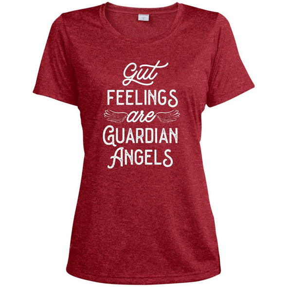 Gut Feelings are Guardian Angels Dri-Fit T-Shirt T-Shirts CustomCat Scarlet Heather X-Small