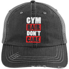 Gym Hair Don't Care Distressed Trucker Cap Apparel CustomCat 6990 Distressed Unstructured Trucker Cap Black/Grey One Size