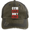 Gym Hair Don't Care Distressed Trucker Cap Apparel CustomCat 6990 Distressed Unstructured Trucker Cap Brown/Navy One Size