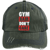 Gym Hair Don't Care Distressed Trucker Cap Apparel CustomCat 6990 Distressed Unstructured Trucker Cap Dark Green/Navy One Size