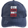 Gym Hair Don't Care Distressed Trucker Cap Apparel CustomCat 6990 Distressed Unstructured Trucker Cap Navy/Navy One Size