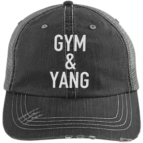 Gym & Yang Trucker Cap Apparel CustomCat 6990 Distressed Unstructured Trucker Cap Black/Grey One Size