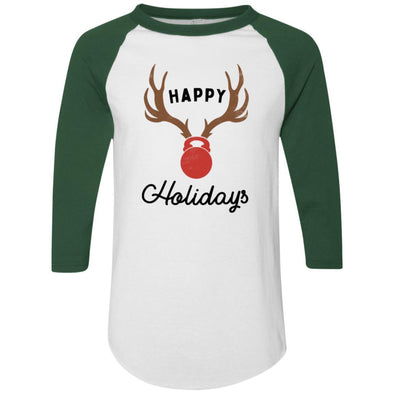 HAPPY-HOLIDAYS-KETTLE-BELL-NOSE Apparel CustomCat Raglan Jersey White/Dark Green S