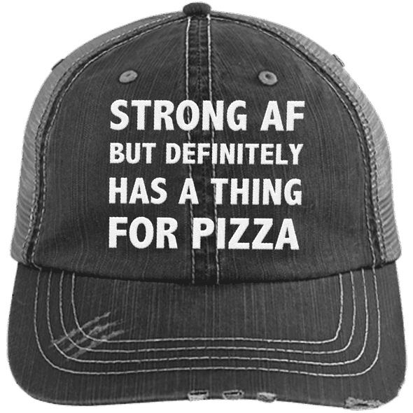 Has a Thing for Pizza Distressed Trucker Cap Apparel CustomCat 6990 Distressed Unstructured Trucker Cap Black/Grey One Size