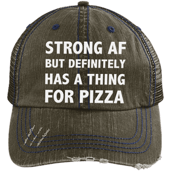 Has a Thing for Pizza Distressed Trucker Cap Apparel CustomCat 6990 Distressed Unstructured Trucker Cap Brown/Navy One Size