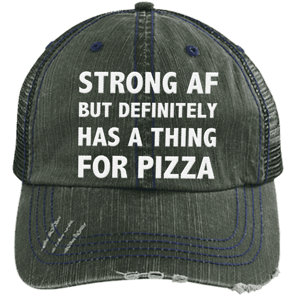 Has a Thing for Pizza Distressed Trucker Cap Apparel CustomCat 6990 Distressed Unstructured Trucker Cap Dark Green/Navy One Size