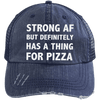 Has a Thing for Pizza Distressed Trucker Cap Apparel CustomCat 6990 Distressed Unstructured Trucker Cap Navy/Navy One Size